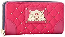 Juicy Couture Quilted Studded Zip Wallet,Hot Pink,One Size