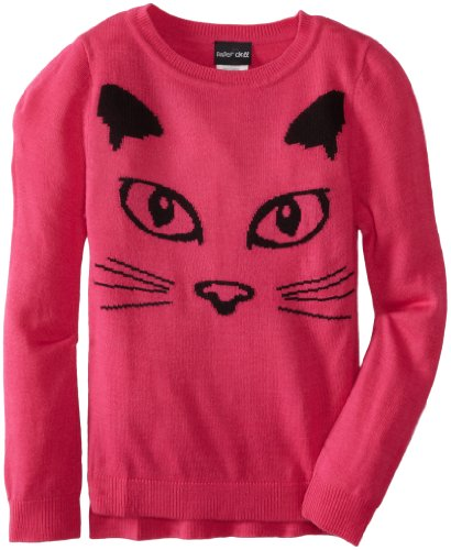 Paperdoll Girls 7-16 Boxy High Low Sweater with Intarsia Cat Face, Hot Pink, X-Large