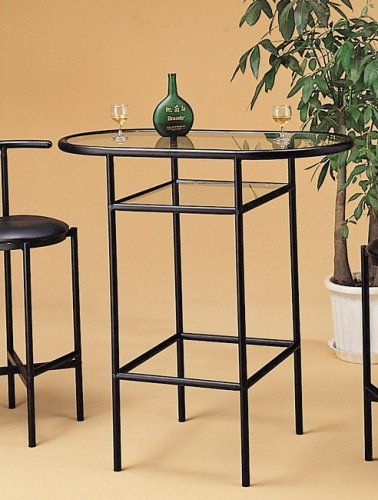 Cheap Retro 50s Style Black Metal Kitchen Pub Bar Table w/Glass Top (VF_2166)