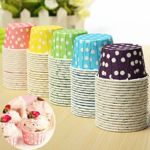 5color/Total 100pcs Baking cup, Cake Baking Paper,Cup Cupcake, Muffin Cases Candy Nut Snack Home Party (Snack Cake Pan compare prices)