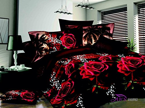 """3D Red Rose Black Skin Floral Print Bedding Sets, 100% cotton Queen Size 3d Bedding Sets, 4PCS with Duvet Cover, Bed Sheet, 2*Pillow Case"""