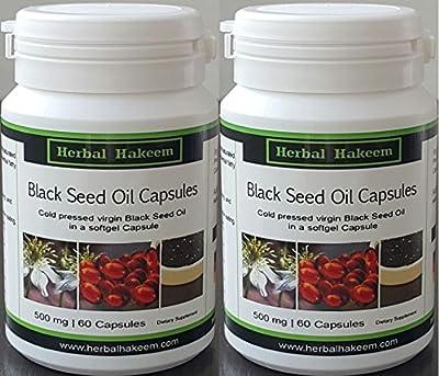 Black Seed Oil Capsules 2 x 60 x 500mg (Made in Germany) - Nigella Sativa