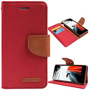 Online Street Quality wallet Style Flip Cover For LENOVO A7000- (Dark Pink)