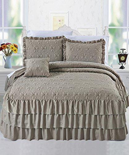 Serenta 4 Piece Matte Satin Ruffle Quilted Bedspread Set, Queen, Taupe