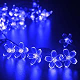 lederTEK Solar Flower Fairy String Lights 21ft 50 LED Blue Blossom Decorative Light for Gardens, Lawn, Patio, Christmas Trees, Weddings, Parties, Bedroom, Holiday Decoration, Indoor and Outdoor