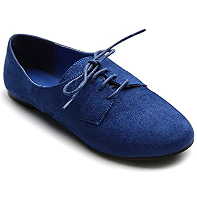 Ollio Women's Ballet?Flat Shoe Faux Suede Lace Up Oxford(5.5 B(M) US, Blue)