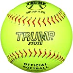 Trump® MP-RP-Y-PB MP Series 12 Inch Red Stitch Yellow Pebble Grain Leather Softball (Official Softball Stamp) (Sold in Dozens)