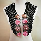 1 Pair Fashion Rose Wings Angel Wings Patches for Clothing Embroidered Patch Motif Applique DIY Xmas Accessories(14.2X5.2inch) (Rose Wings) (Color: Rose Wings)