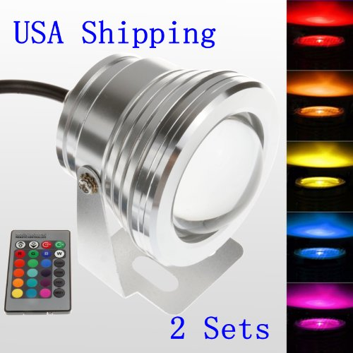 LEMONBEST 10W 12V RGB Fountain Aquarium Pond Landscape Light, IP68 Waterproof , 2 Pack (Enjoy USA Shipping)