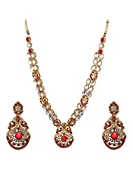 I Jewels Traditional Gold Plated Kundan Necklace Set With Maang Tikka For Women (Maroon) (Ij203M)