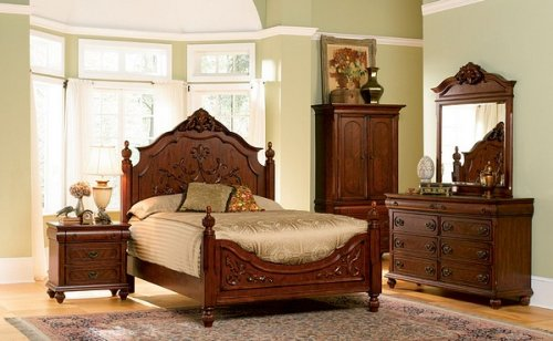 Isabella Collection Solid Hardwood Queen Size Bedroom Set
