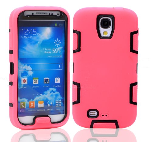 Magicsky Robot Series Hybrid Armored Case For Samsung Galaxy Iiii S4 I9500 - 1 Pack - Retail Packaging - Black/Hot Pink