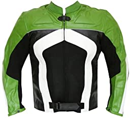 RAZER MENS MOTORCYCLE LEATHER JACKET ARMOR Green XXL