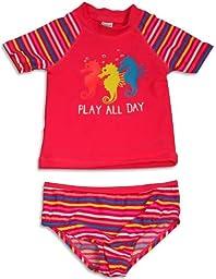 Osh Kosh B\'gosh - Baby Girls 2 Piece Rashguard Seahorse Swimsuit Set, Pink Salmon, Multi 31632-12Months