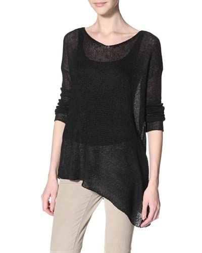 Acrobat Women's Mixed Stitch Slant Hem Sweater  - Black