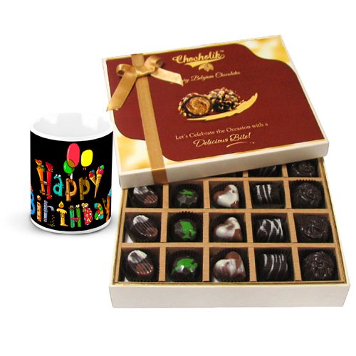 Chocholik Luxury Chocolates - Smooth Sesame Of Dark And Milk Chocolate Box With Birthday Mug