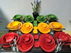 80-Piece Melamine Dinnerware Summer Mix Set Bowl Plate Platter Glass (FDA Compliance)
