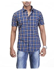 Sting Blue Checks Slim Fit Casual Shirt - B00RRUHE14