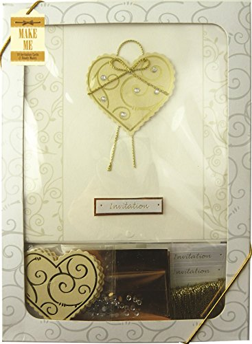 Craftime Einladungskarte, Herz, goldfarben