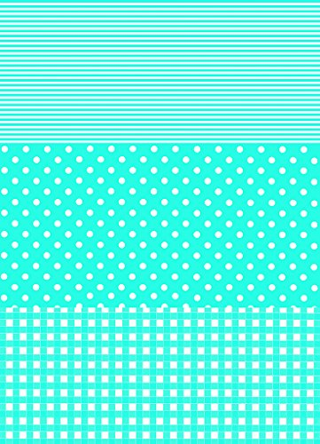Decopatch Paper 549 (Single Sheet) - Dots Stripes and Squares (Light Blue) by Clairefontaine