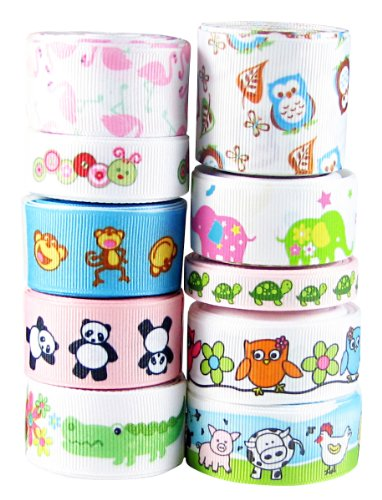 Hip Girl Boutique 50 Yards Grosgrain Ribbons Collection--Animals Cutie--Owl, Monkey, Panda....
