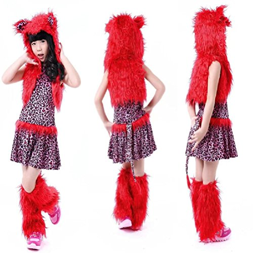 Purplebox Halloween Red Leopard Kitten Children Stage Halloween Cos Clothing