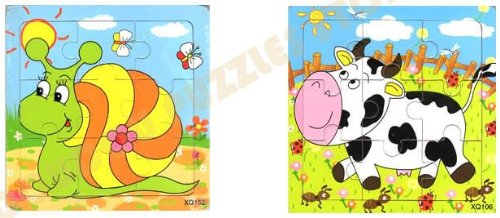 2pcs Wooden Cartoon Animal Jigsaw Puzzle Early Educational Toys Gifts (Snail+ Cow?