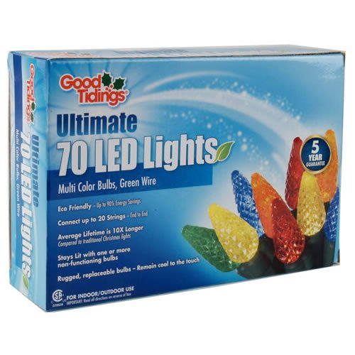 Good Tidings 23-Foot Indoor/Outdoor Holiday Christmas Light Set With 70 Multi-Colored Led