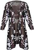 Womens Foil Floral Print Ladies 3/4 Three Quarter Sleeve Lace Mesh Front Open No Fastening Cardigan Blouse Top Plus Size
