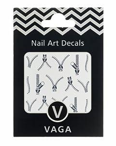 Décorations Stickers Nail Art Fermetures Eclair Ouvertes Decals Couleur Argent par VAGA®