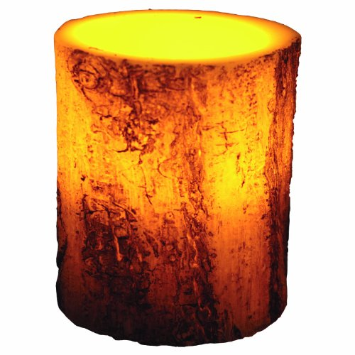 River'S Edge Led Birch Bark Candle, 4X5-Inch, Brown