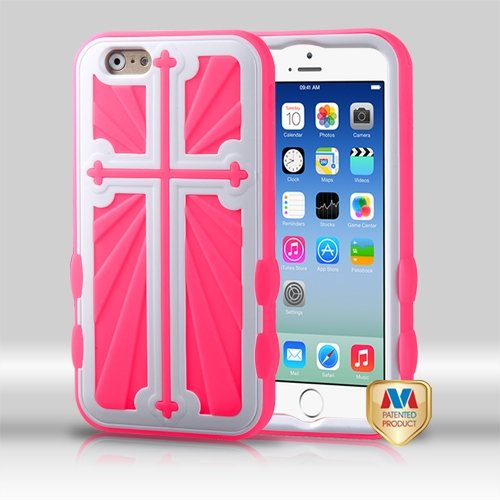 Cell Accessories For Less (Tm) Apple Iphone 6 (4.7) Ivory White/Electric Pink Cross Hybrid Protector Case Cover + Bundle (Stylus & Micro Cleaning Cloth) - By Thetargetbuys