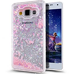 Galaxy A5 Case,ikasus Galaxy A5 [Liquid] Case [Bling] Hard Case,Fashion Creative Design Flowing Liquid Floating Luxury Bling Glitter Sparkle Love Heart Shape Hard Case for Samsung Galaxy A5 (Pink)