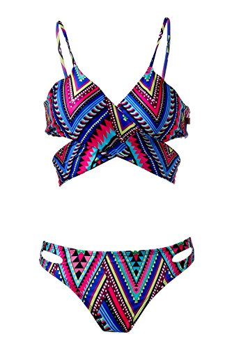 Spring Fever Women's Push Up Ethnic Hollow Out Swimsuit Printed Strappy Bikini Mixed Color XL(US:10-12)
