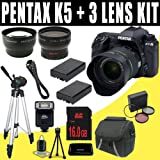 51rpHEPj6QL. SL160  Pentax K 5 16.3 MP Digital SLR with 18 55mm Lens and 3 Inch LCD (Black) + Two DLI90 Battery + 16GB SDHC + Wide Angle / Telephoto Lenses DavisMAX Accessory Kit Bundle Reviews