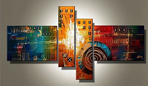 Sanbay Art 100% Hand Painted Oil Paintings on Canvas Hot Sale Bustling Building Wood Framed Inside 4-pieces Set Artwork for Living Room Kitchen and Home Wall Decoration