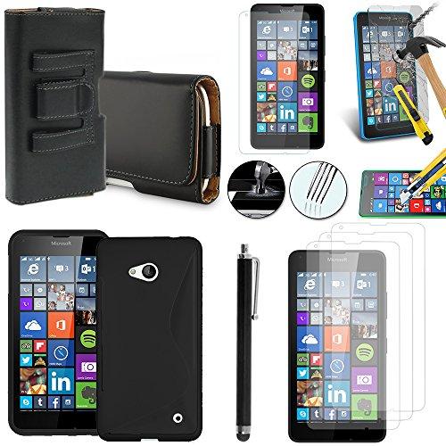 Microsoft Nokia Lumia 640 LTE/640 LTE Dual 640 Dual SIM/SIM-Set custodia accessori-Custodia in Silicone Gel, pellicola in vetro temprato e 1 pennino in pelle con clip per cintura, colore: nero