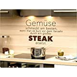 """I-love-Wandtattoo 11876 Wandtattoo Spruch """"Gemüse schmeckt am besten, wenn man es kurz vor dem Verzehr durch ein großes Steak ersetzt."""" Wandaufkleber Küche Wandsticker"""