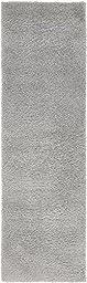 Modern Plush 2 feet by 7 feet (2\' x 7\') Runner Solid Shag Light Gray Contemporary Area Rug