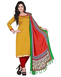 Yehii Women's Silk Yellow Plain / Solid dress material Unstitched Salwar Kameez Dupatta for women party wear low price Below Sale Offer