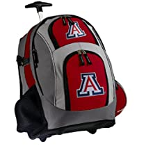 University of Arizona Rolling Backpack Deluxe Red Arizona Wildcats - Best Backpacks Bags with Wheels or School Trolley Bags Suitcase Carry-Ons - Unique Gifts!