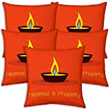 Best Festival Gifts Diwali Christmas New Year Set Of 5 Orange Row Of Diyas Happiness & Prosperity Printed Polyester...