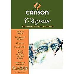 Canson C a' grain 180 GSM A5 Pack of 20 Fine Grain Sheets
