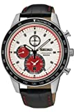 Seiko Men's Stainless Steel, White Dial, black Leather Strap Chrono SNDD91P1