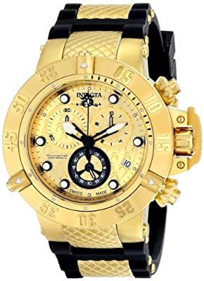 Invicta Men's 15802 Subaqua 18k Gold Ion-Plated Stainless Steel Watch with Black Polyurethane Band