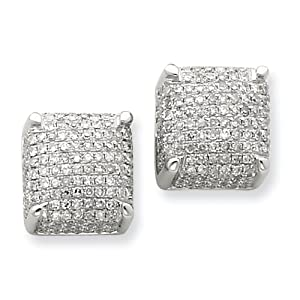 14k White Gold Diamond Large Cube Post Earrings