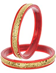 Nice Yellow Red Bangle Set For Women (Pack Of 8) - Size 2.6