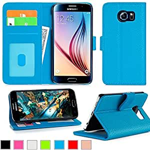 eTopxizu Samsung Galaxy S6 Case Genuine Leather Wallet Cover with STAND PU Leather Flip Cover for Galaxy S6,Stand Feature Premium Wallet Case with STAND Flip Cover Blue