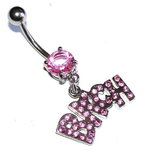 Belly Bars - Pierced & Modified - Body Jewellery - Pink Crystal Dangle Navel Bar - Bitch