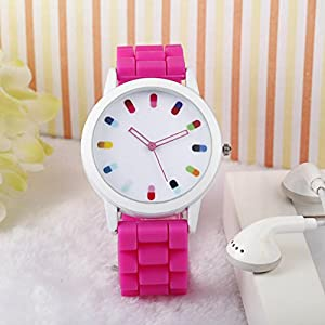 Women Ladies Clourful Dots Silicone Unisex Unisex Quartz Watch JJC001-Rose